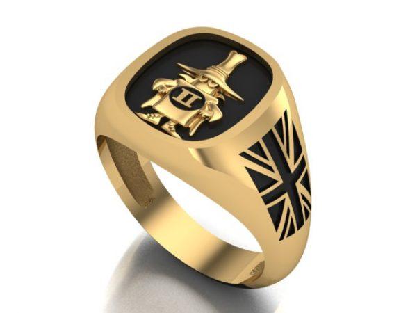 """[:en]""""Spook"""" Gold Ring 14K/18K, Union Flag, Black Enamel, Polished Finish[:el]Δαχτυλίδι Spooky Phantom Αγγλική Έκδοση , Μαύρο Σμάλτο σε Χρυσό 14Κ/18Κ[:]"""
