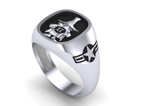 """[:en]""""Spook"""" Sterling Silver Ring,USAF Version,Black Enamel,Polished or Satin finish [:el]Δαχτυλίδι """"Spook"""" USAF Edition,Ασημένιο,με μαύρο σμάλτο,Ματ ή γυαλιστερό φινίρισμα.[:]"""