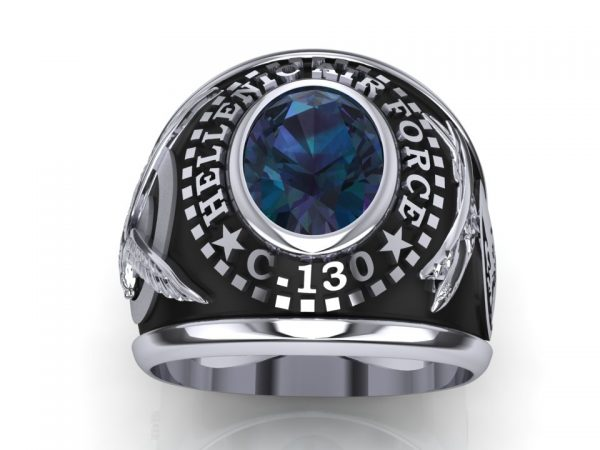 "[:en]""C-130"" Class Ring with Blue Spinell[:el]Ασημένιο Δαχτυλίδι 356 MTM  C-130 με  Μπλε Σπινέλιο[:]"